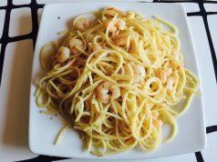 Receta espaguetis con gambas -irecetasfaciles
