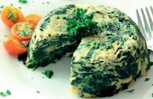 Tortilla de calabacin y espinacas en microondas